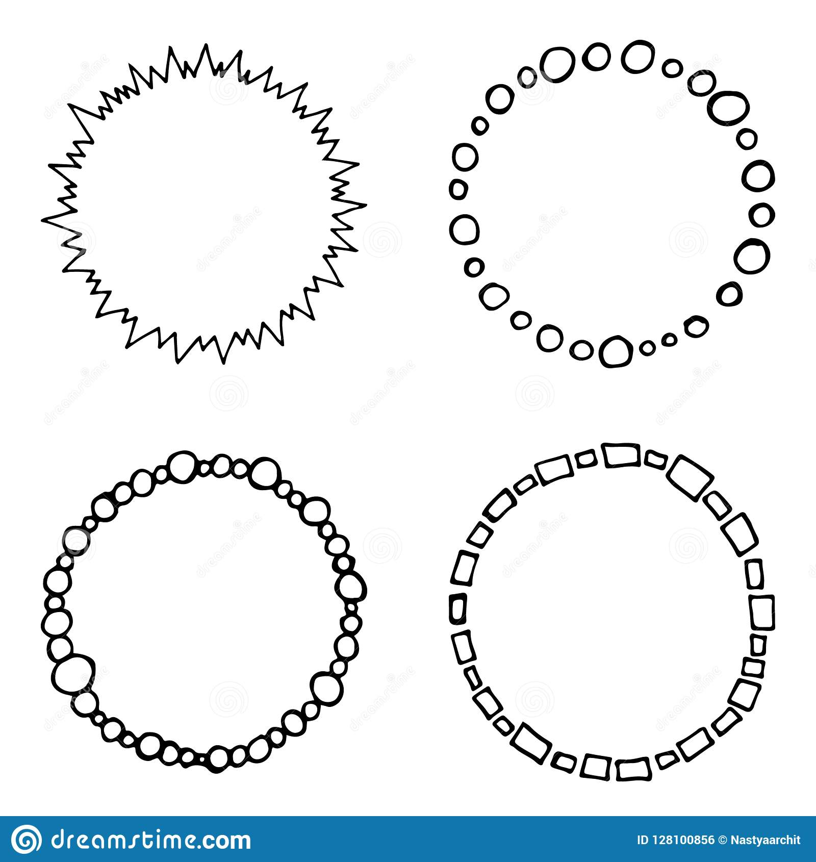 Set Of Doodle, Hand Drawn Vector Circle Frames, Black And White ...