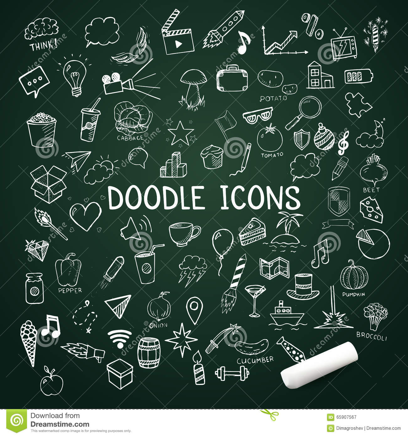 Set Of Doodle Icons Vector Hand Drawn Objects With Chalk