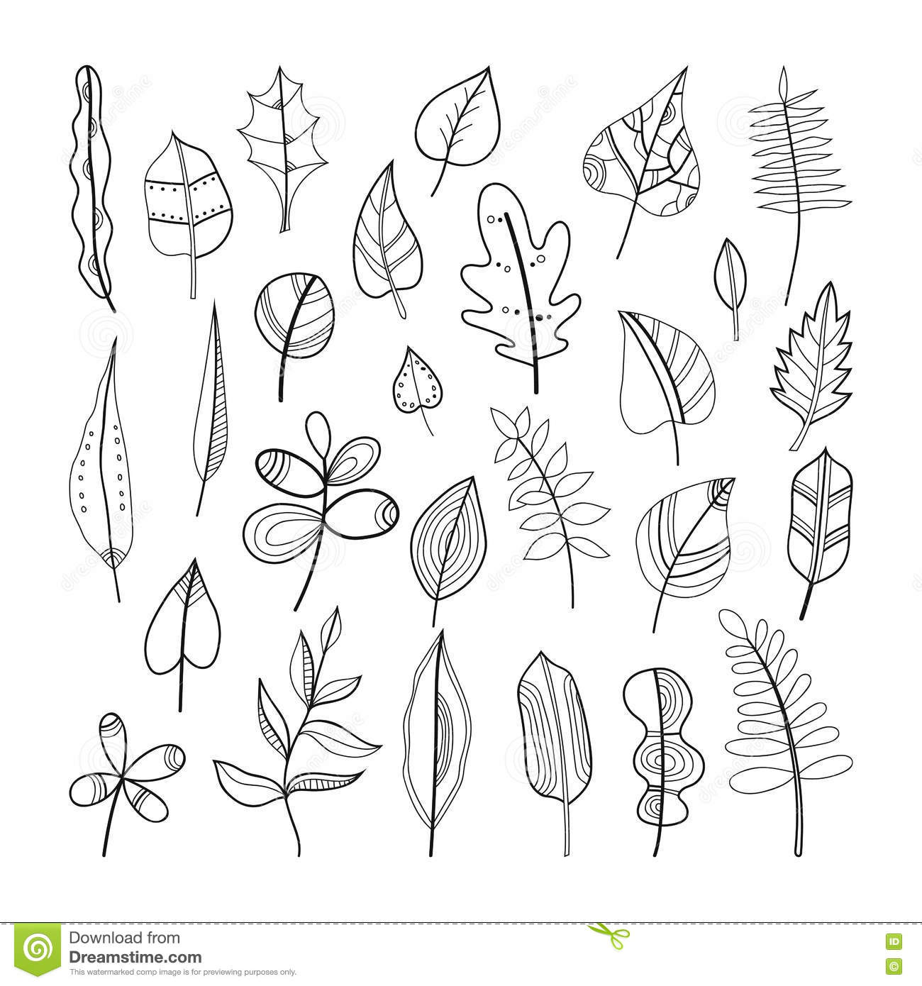Set Of Doodle Leaves Plants For Coloring Book
