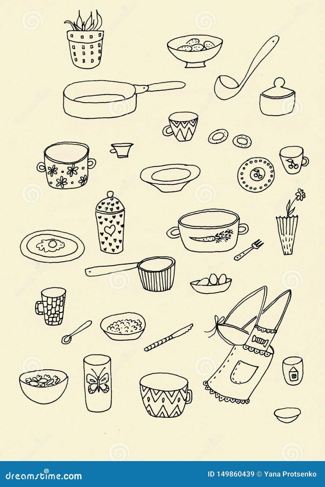 Set doodle naczynia kuchenny kontur w czerni odizolowywaj?cym nad bia?ym t?em