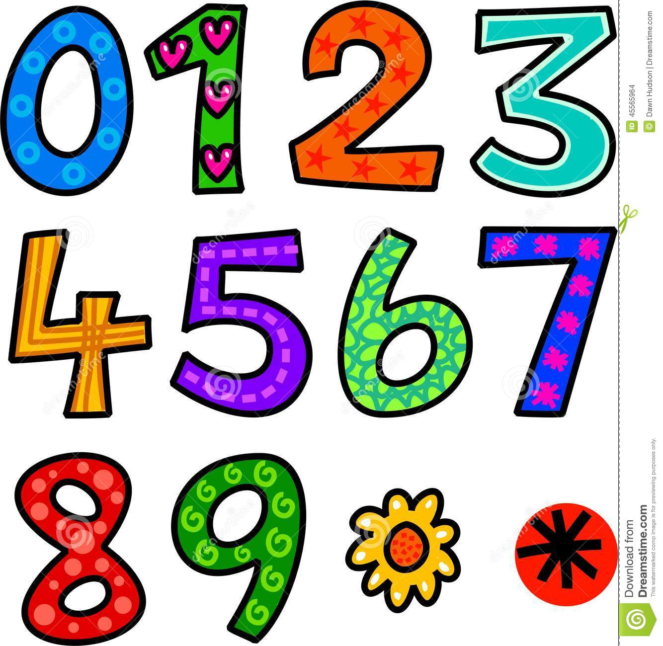 Set of doodle numbers stock illustration image 45565964