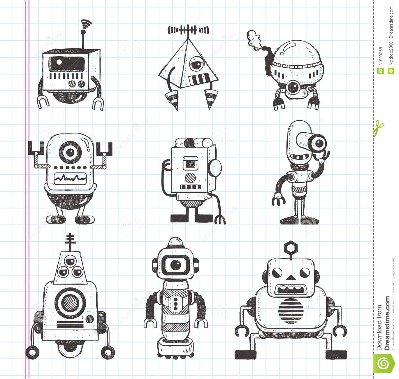Cartoonsmart Character Design Illustrator : Set of doodle robot icons stock vector illustration