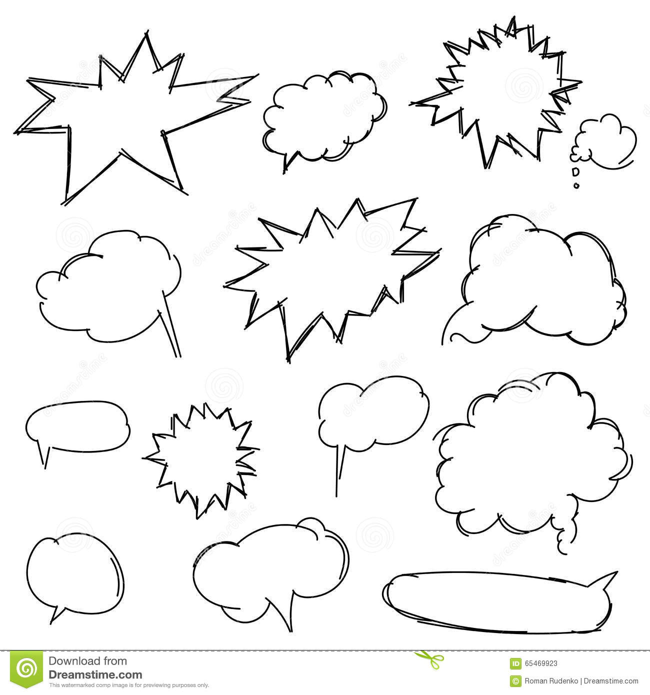 Line Drawing Shapes : Set doodle shapes for message pencil sketches hand drawn