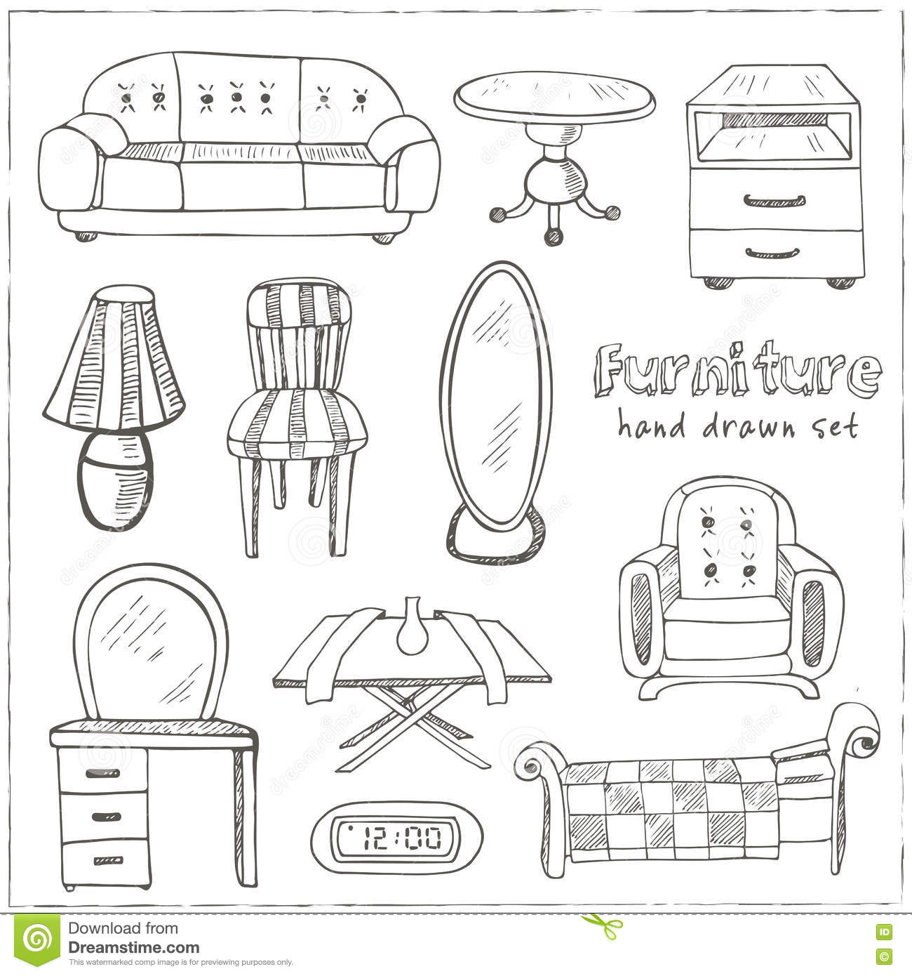 Set Of Doodle Sketch Furniture Stock Vector Image 73915517