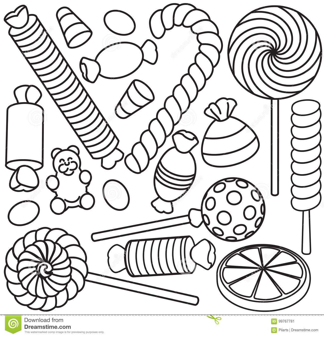 set of doodle sketch sweets and candy stock vector illustration of