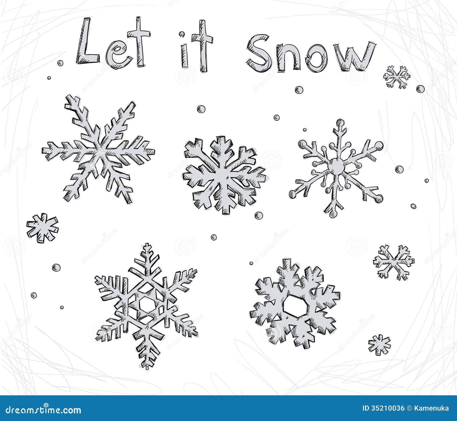 Set blue snowflakes doodle. christmas symbol. Vector | Vector ...