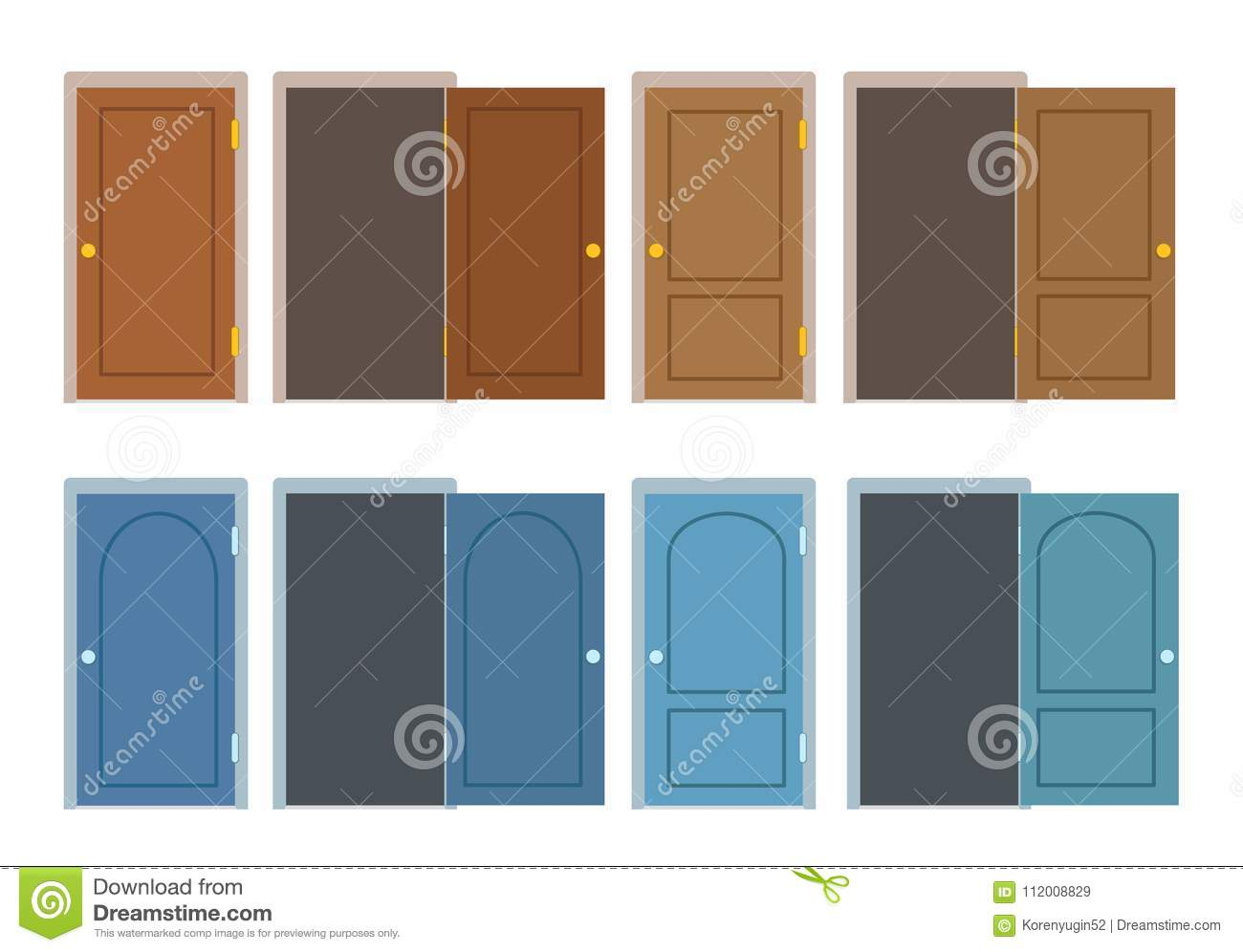 Set Of Doors In Brown And Blue Color, Different Positions