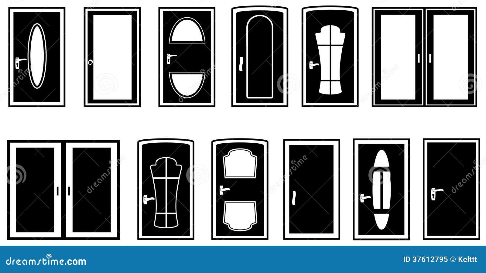 Set Doors Silhouette Stock Vector Illustration Of Gate