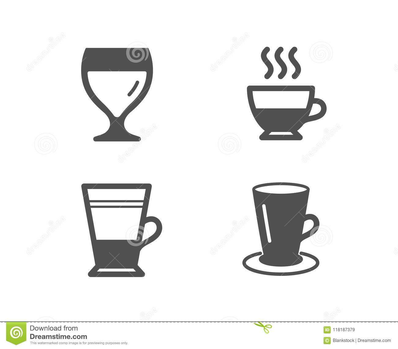 Double Latte, Doppio And Wine Glass Icons. Teacup Sign