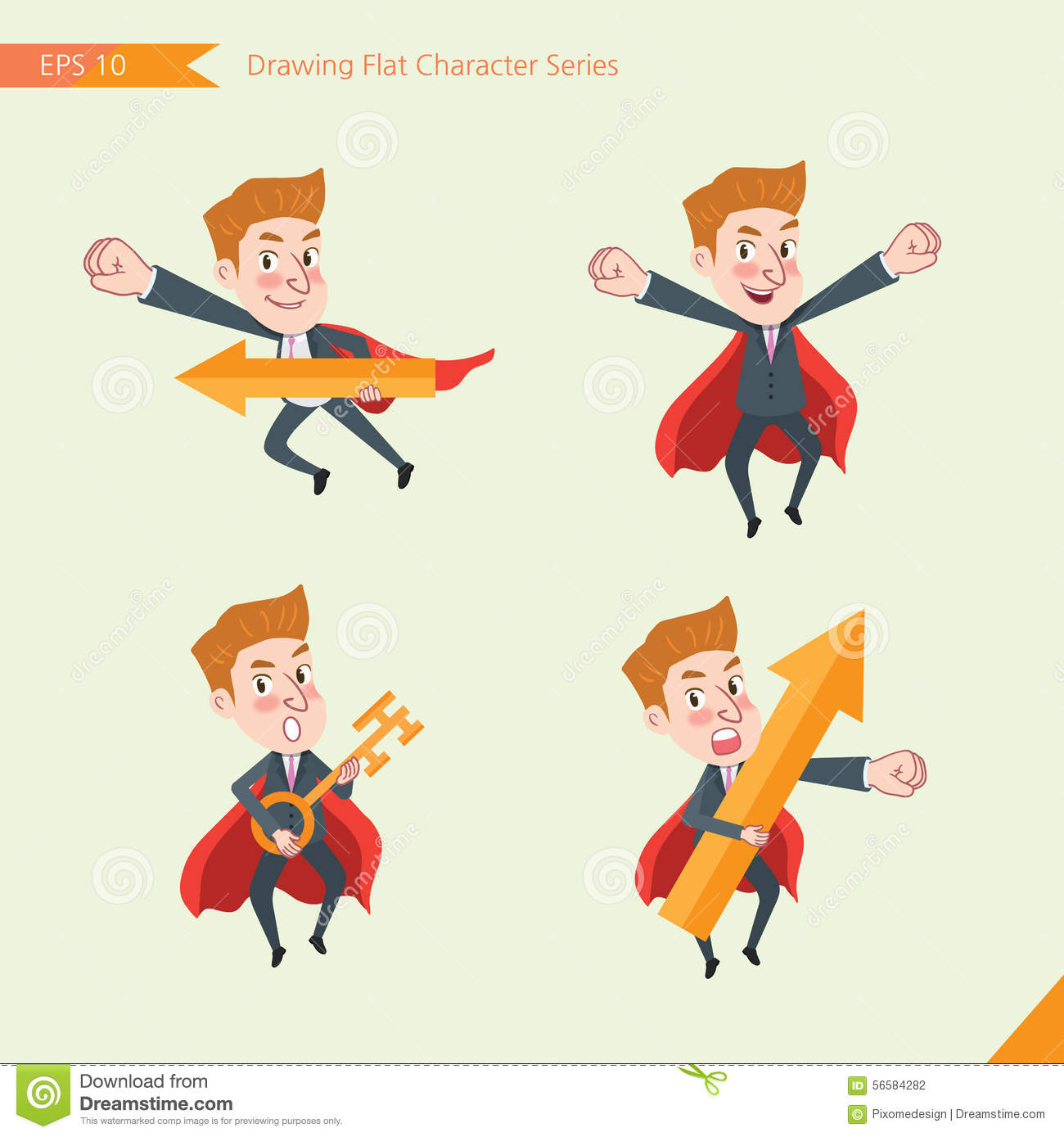 Set of drawing flat character style, business concept young office worker activities