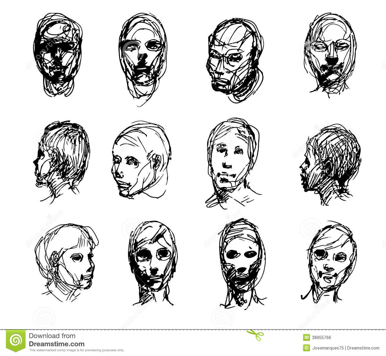 Line Drawing Face Vector : Set of drawing heads stock vector image icon