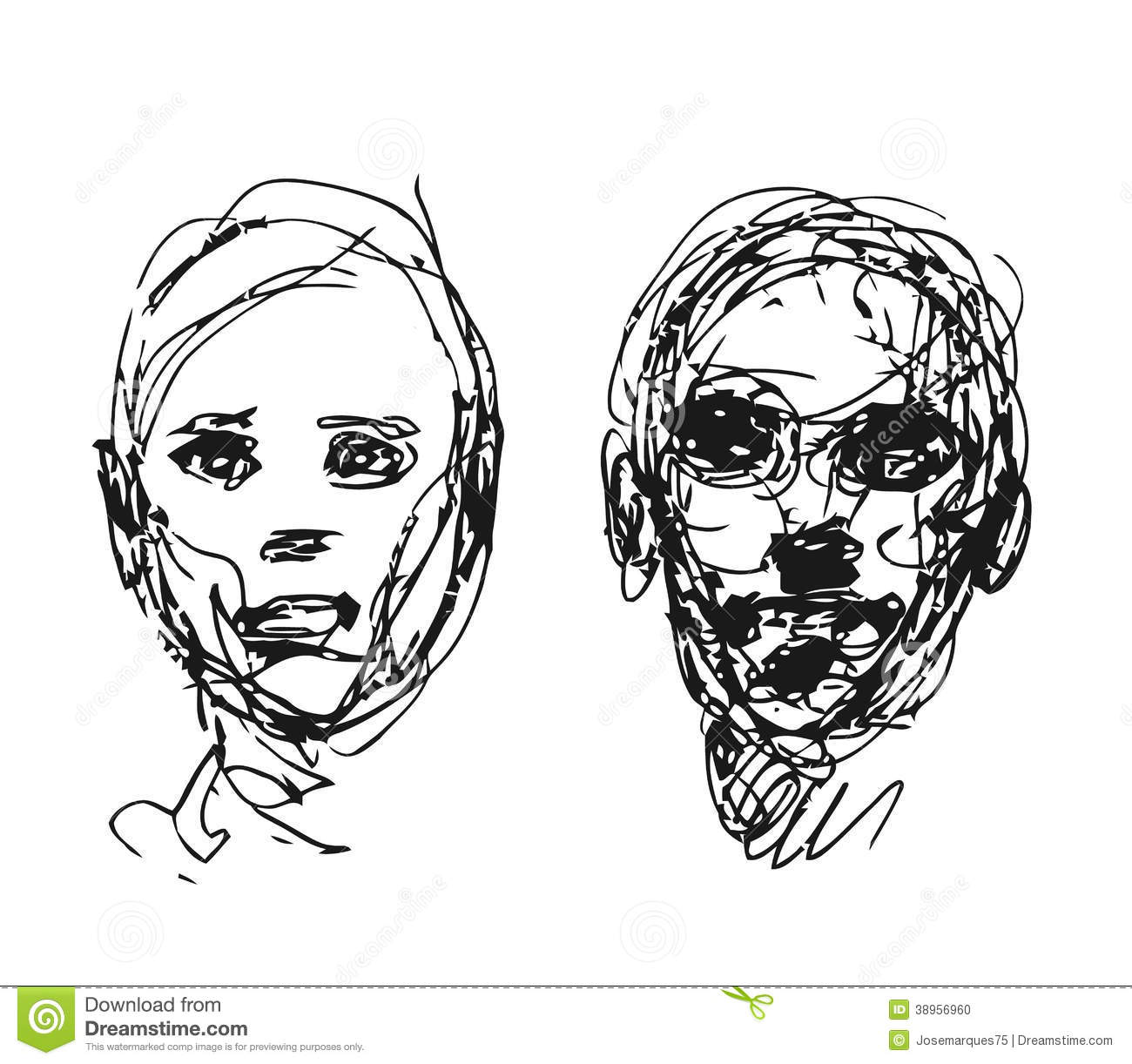 Line Drawing Head : Set of drawing heads stock vector image
