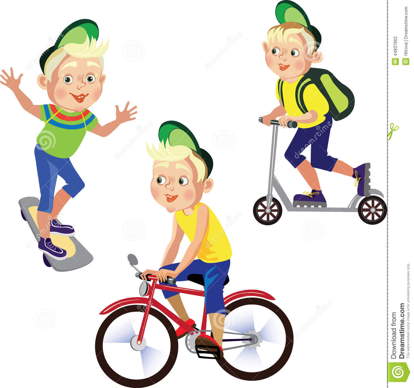 Set Drawings Boy On A Bicycle Skateboard Scooter Stock