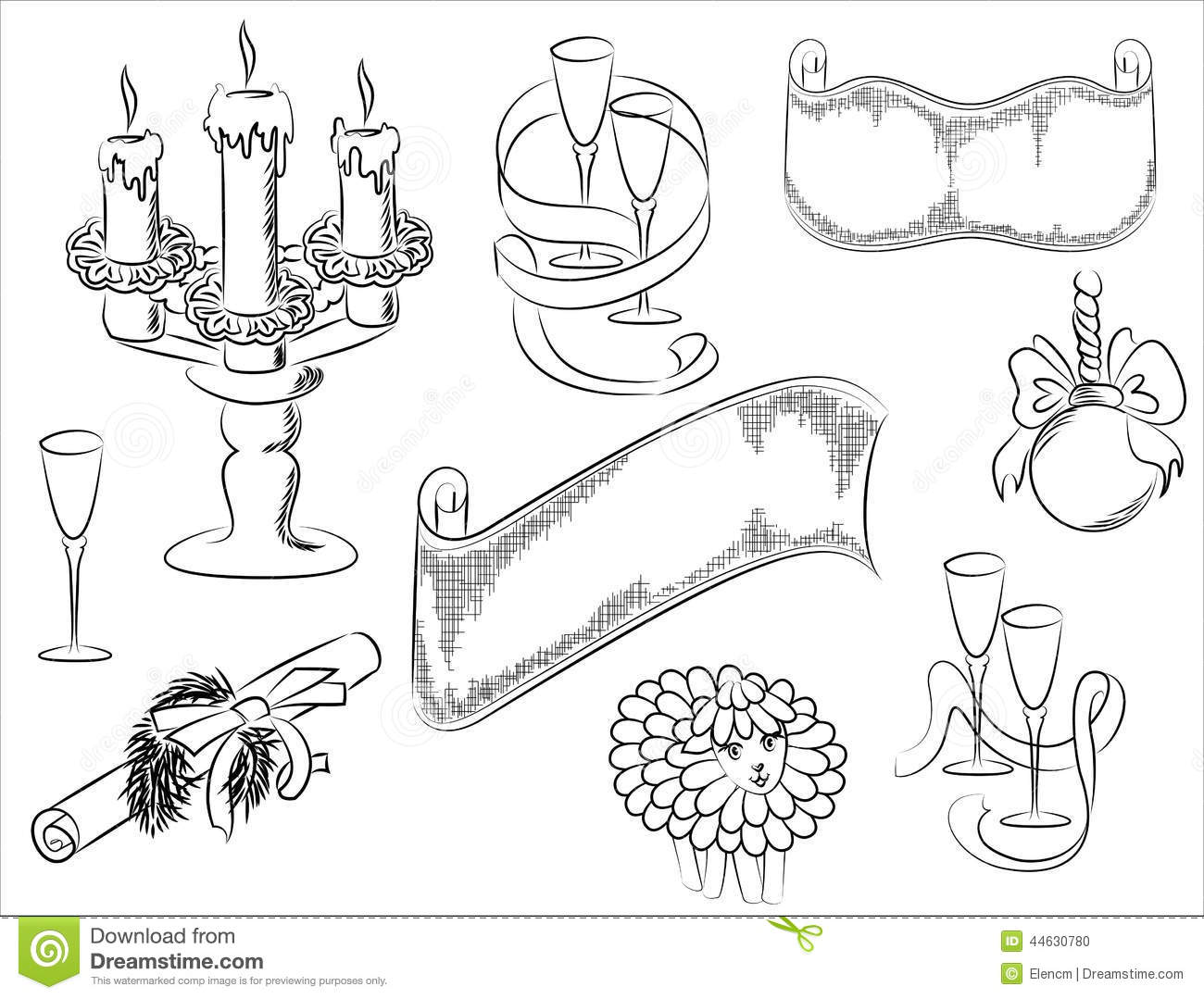 a set of drawings of christmas stock vector illustration of