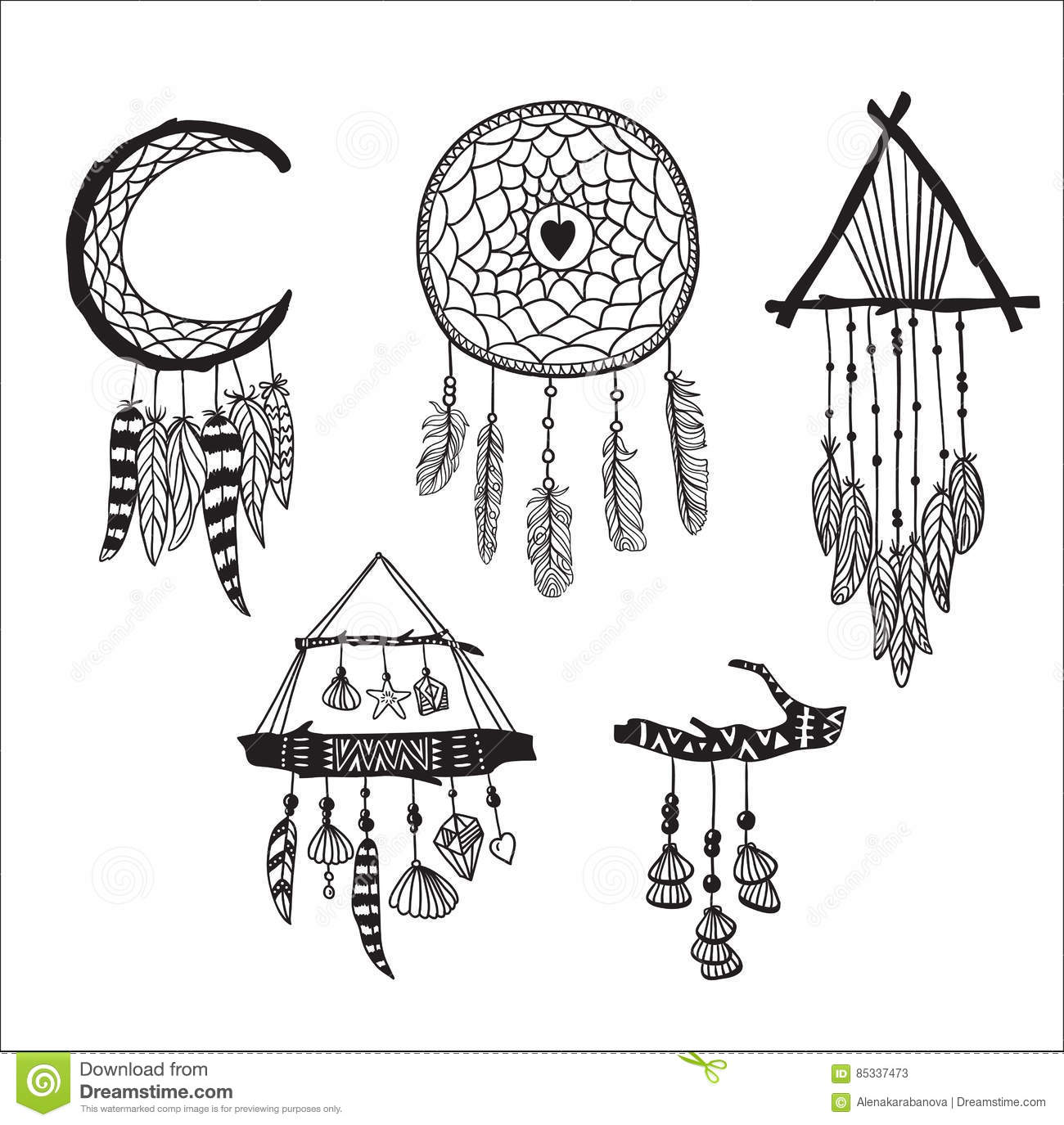 Set Of Dreamcatchers Design Elements In Boho Style Lineart Native
