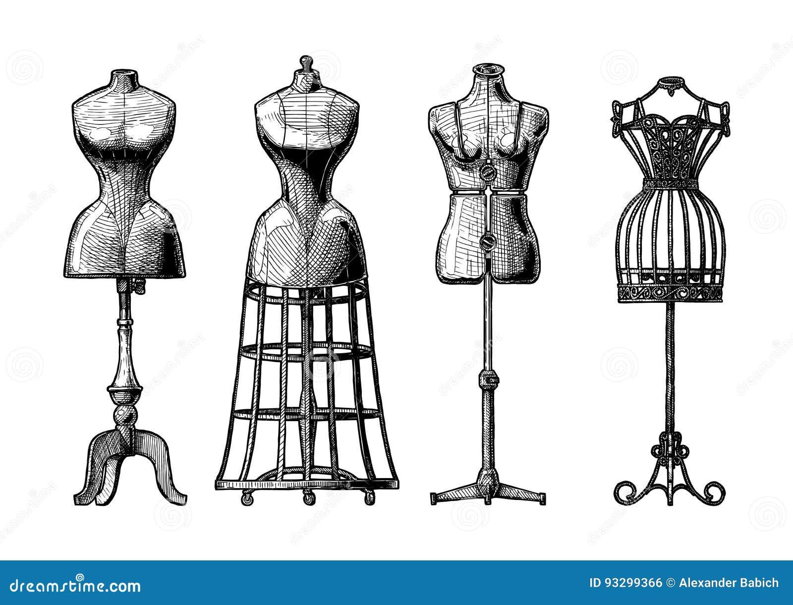 set of dress form stock vector image of craft manikin