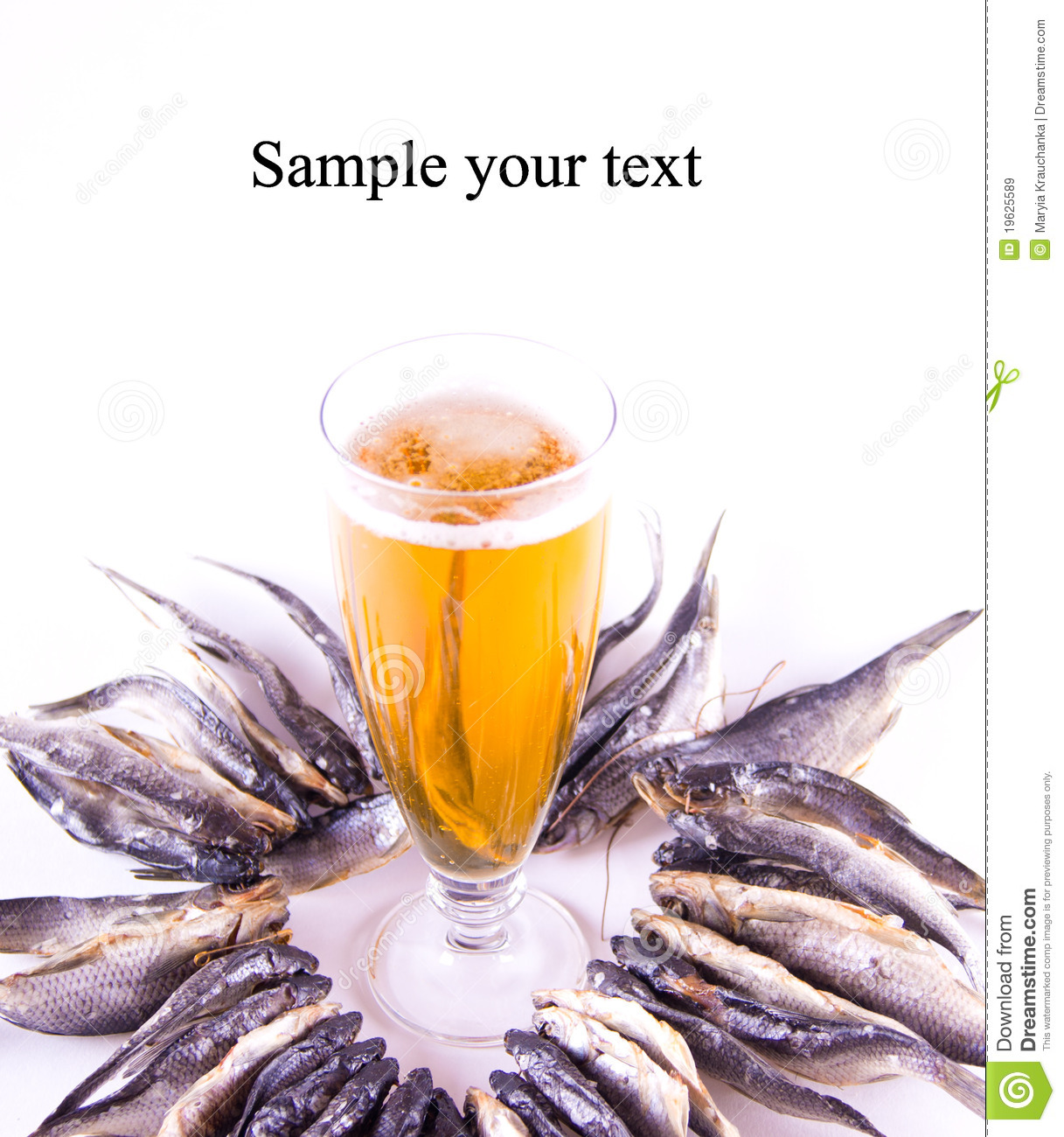 Set of dried fish and beer royalty free stock images for Fish and beer