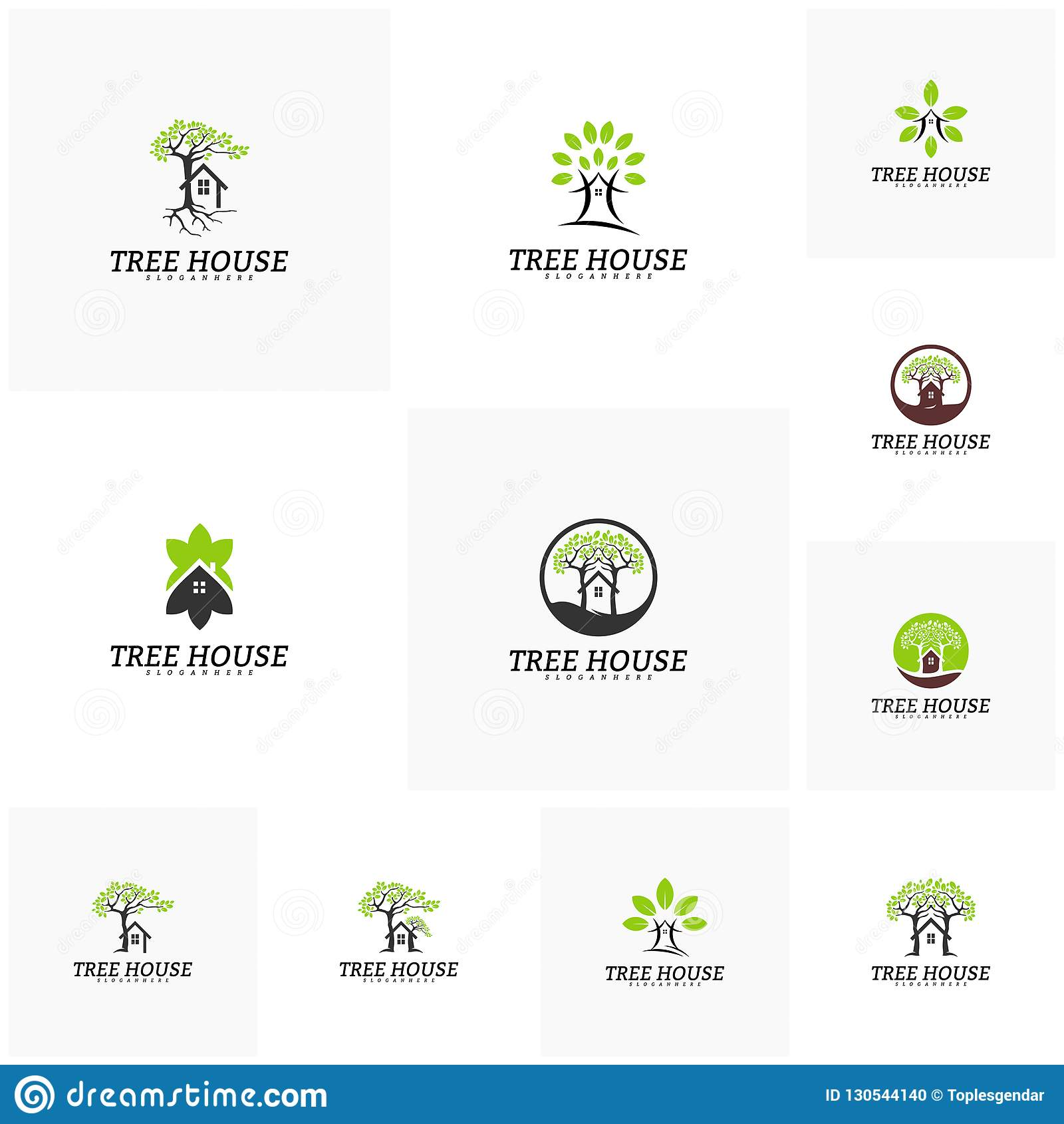 Set Drzewnego domu logo wektoru szablon Liścia domowy logo