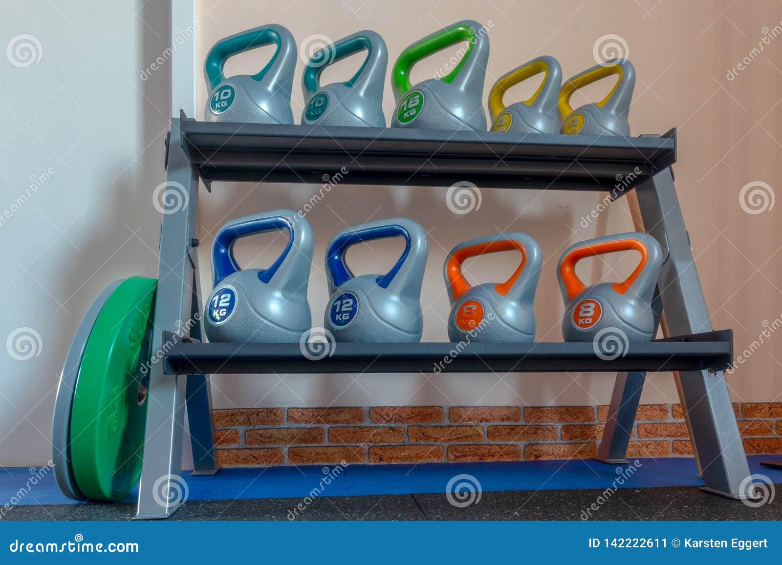 Set of Dumbbells in a gym