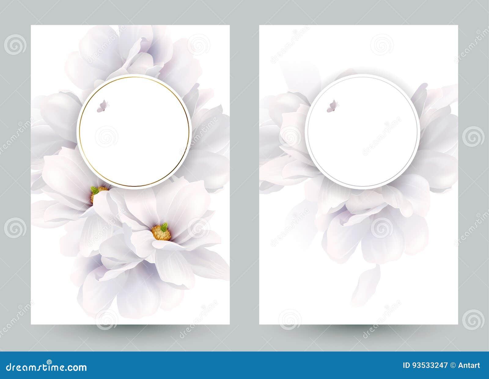 Set dwa zaproszenia lub gratulacje karty z eleganckim kwiatu składem Kwitnące białe magnolie tworzyć