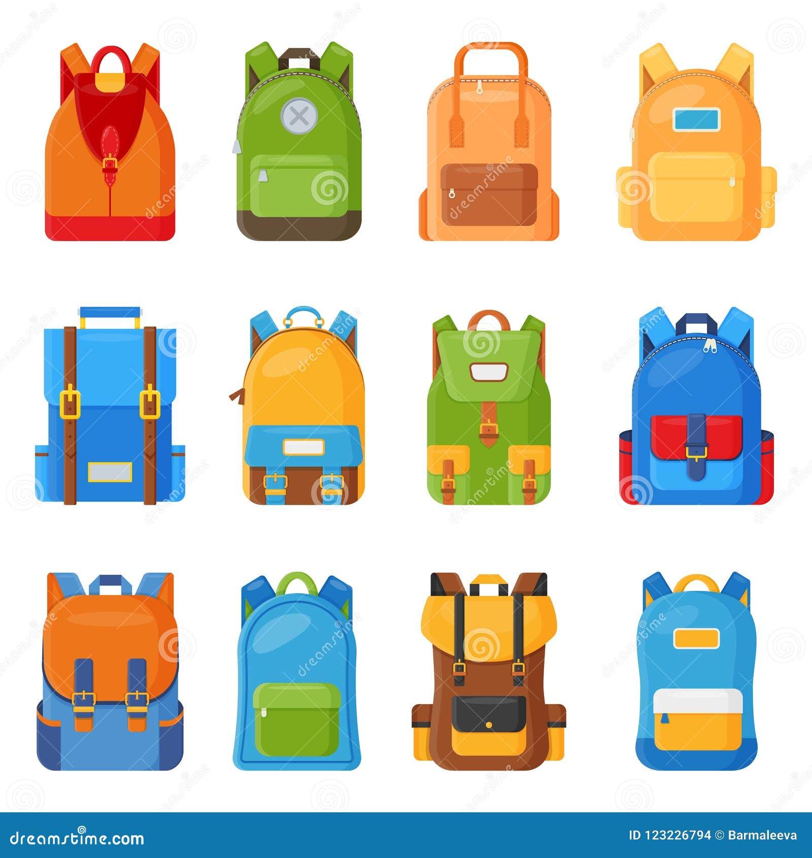 Set dwanaście barwiących szkolnych plecaków Edukaci i nauki płaska kolekcja szkoła, z powrotem, schoolbag bagaż, plecak