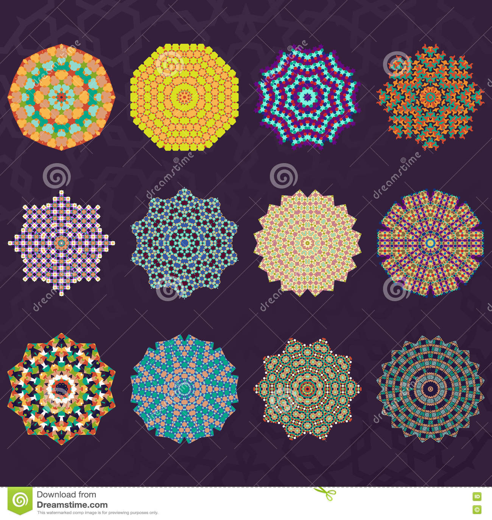 Set Dwanaście Round Geometrycznych mandala kalejdoskopu ornamentów Okrąża elementy