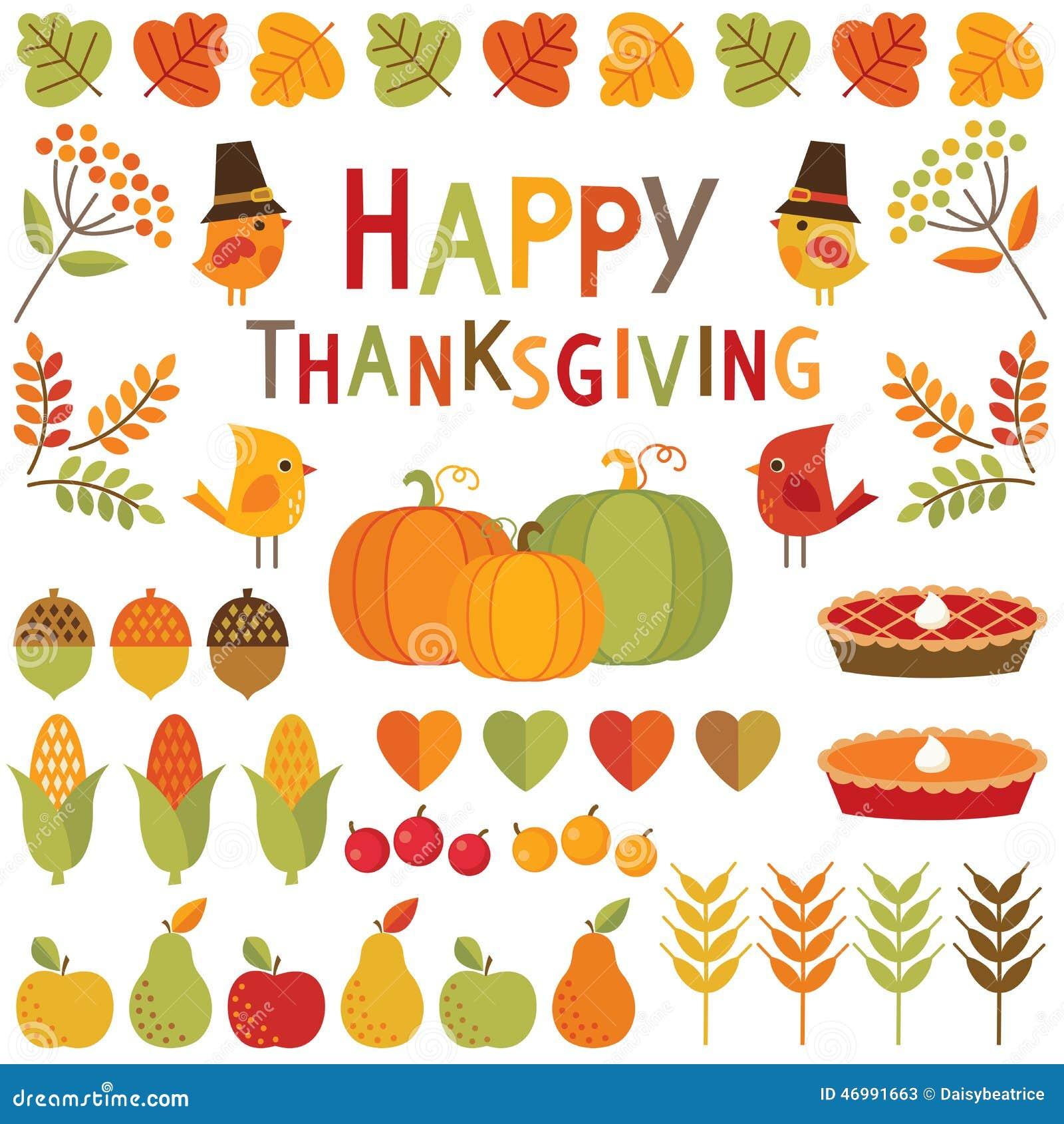 Set dziękczynienia i jesieni projekta elementy
