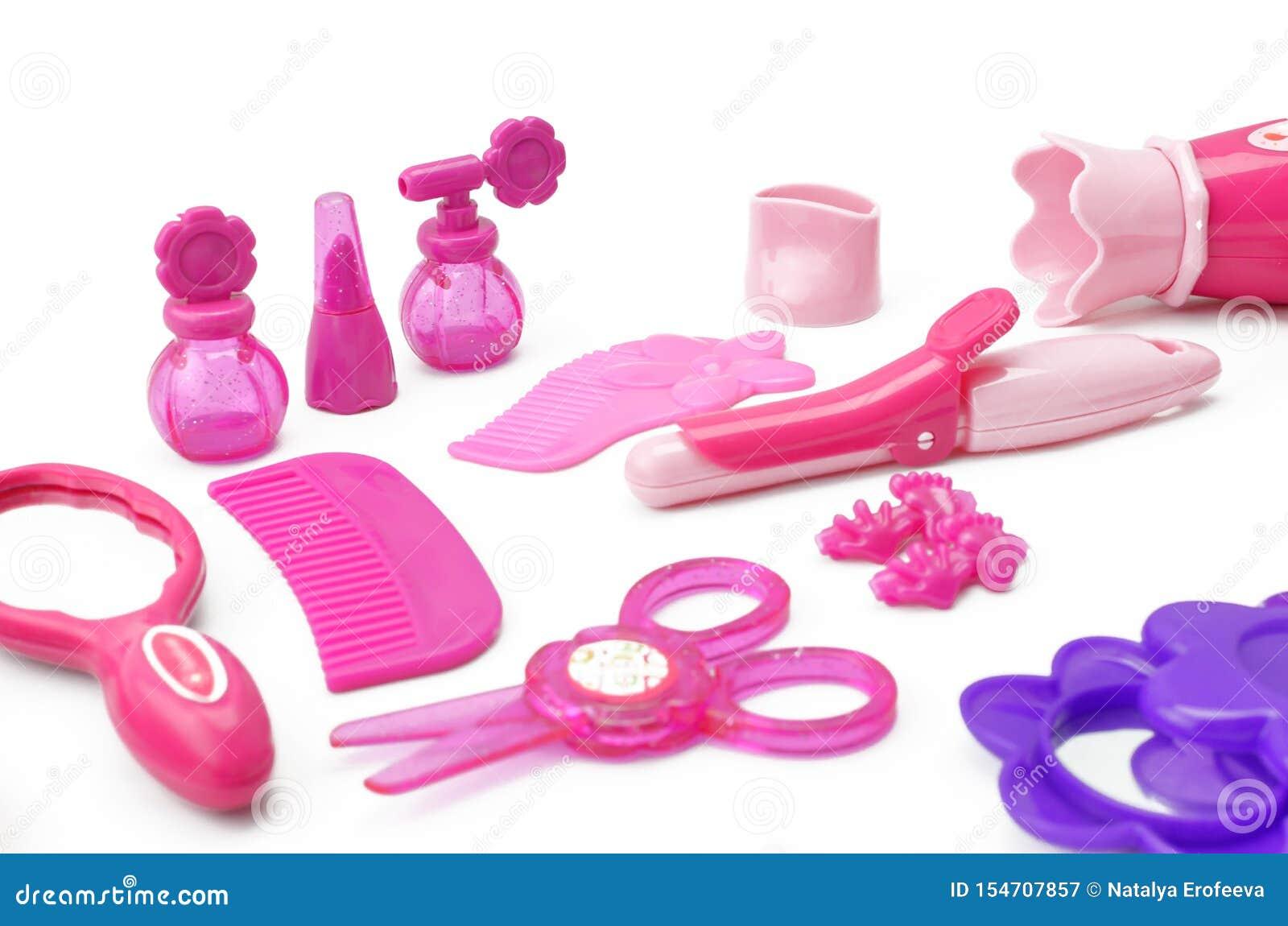 Set dzieci zabawkarscy dla dziewczyny fryzjerstwa gemowego zestawu dla dziewczyn odizolowywać na białym tle