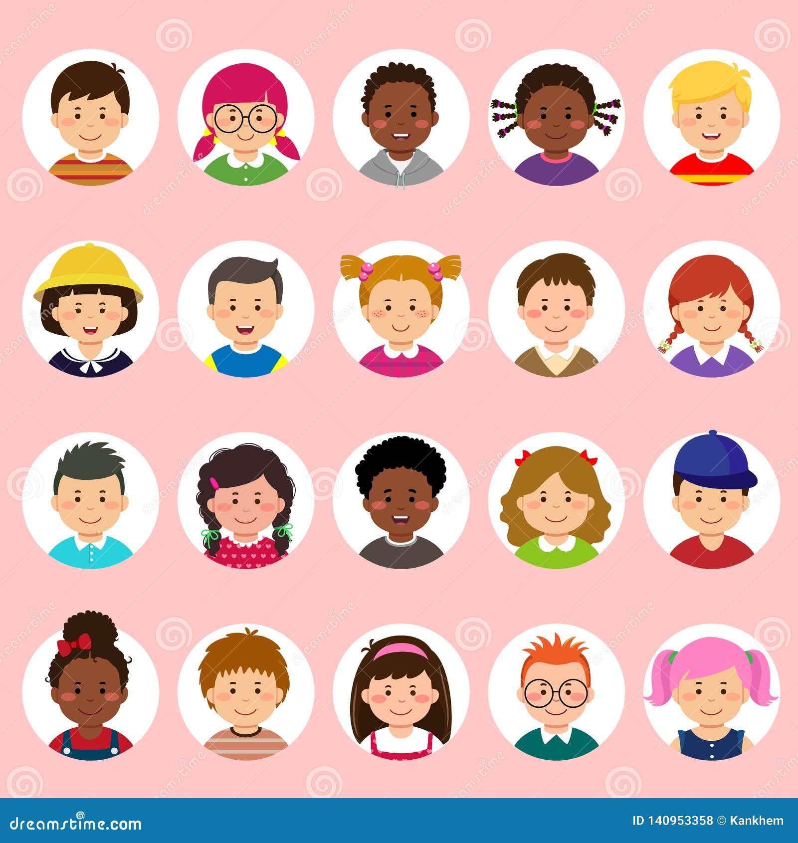 Set dzieciaki stawia czoło, avatars, dziecko głów różna narodowość w mieszkanie stylu