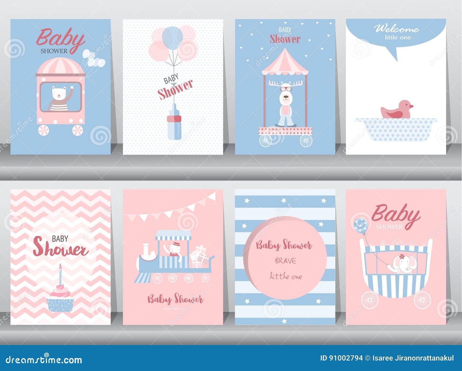 Set dziecko prysznic zaproszenia karty, urodzinowe karty, plakat, szablon, kartka z pozdrowieniami, śliczni, niedźwiedź, pociąg,