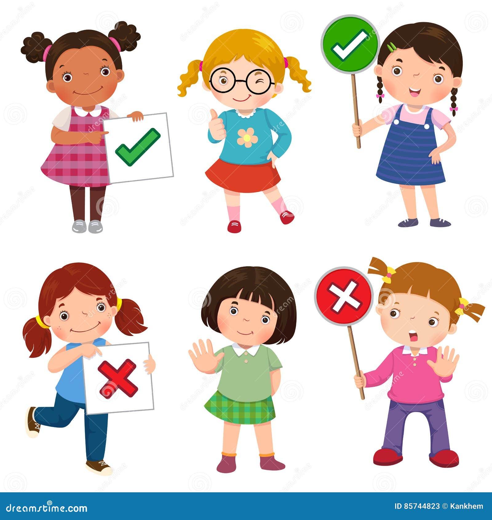 Set dziewczyny trzyma i robi dobrze i źle znaki