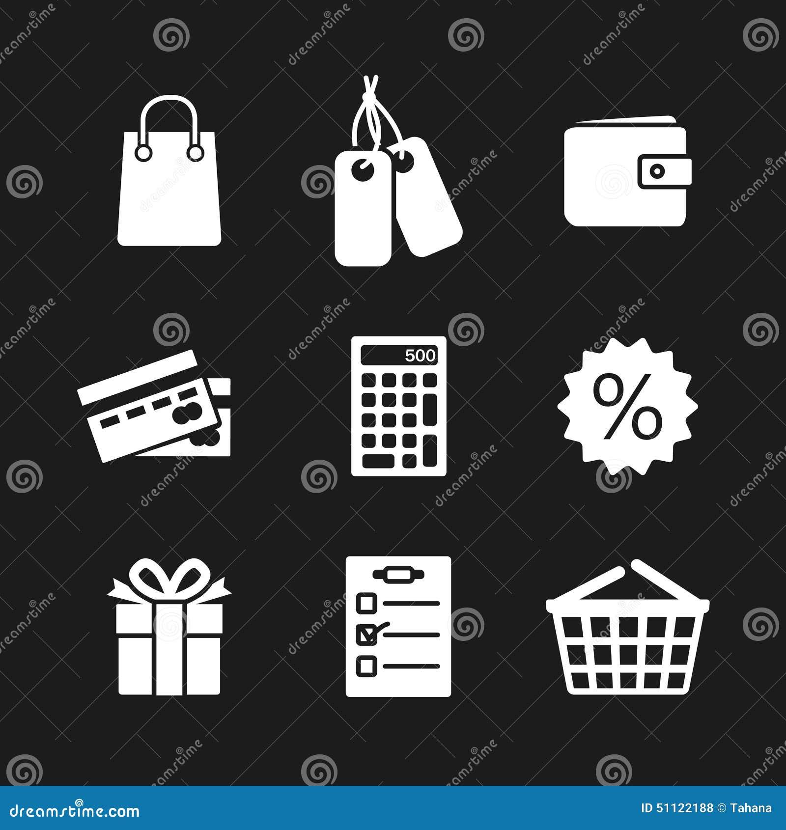 Set dziewięć zakupu zakupy ikon