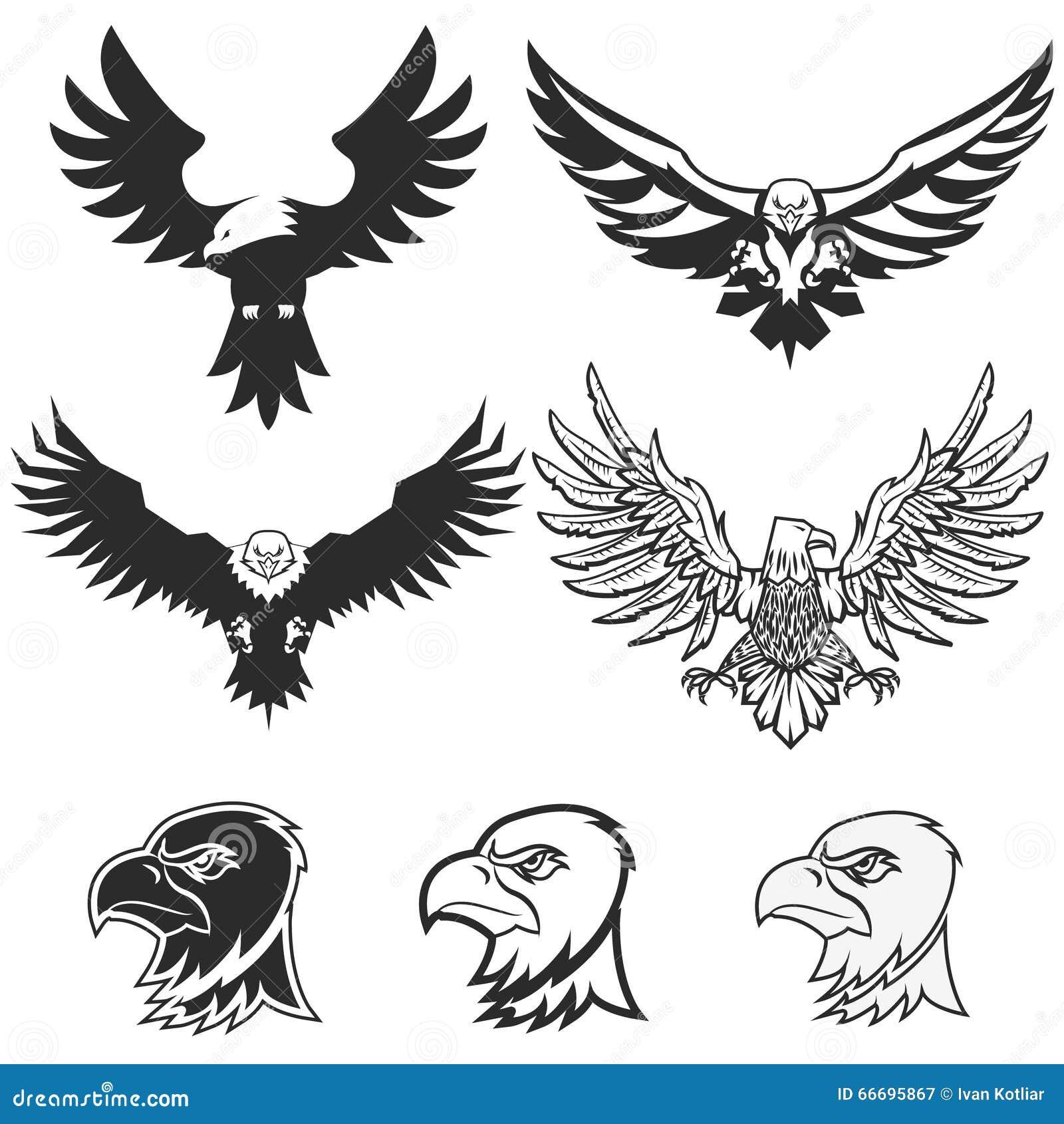 wing abstract emblem set logo template badge label icon tattoo design cartoon vector. Black Bedroom Furniture Sets. Home Design Ideas