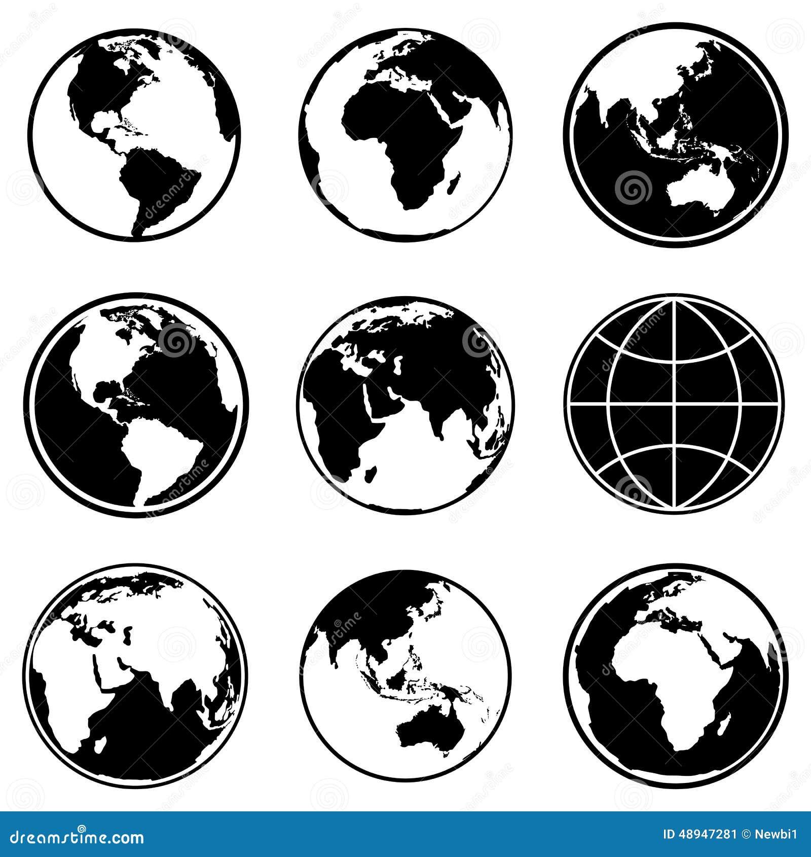 Set of earth planet globe icons vector stock vector illustration set of earth planet globe icons vector publicscrutiny Choice Image