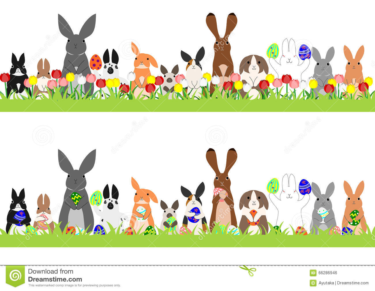 Set Of Easter Bunnies In A Row