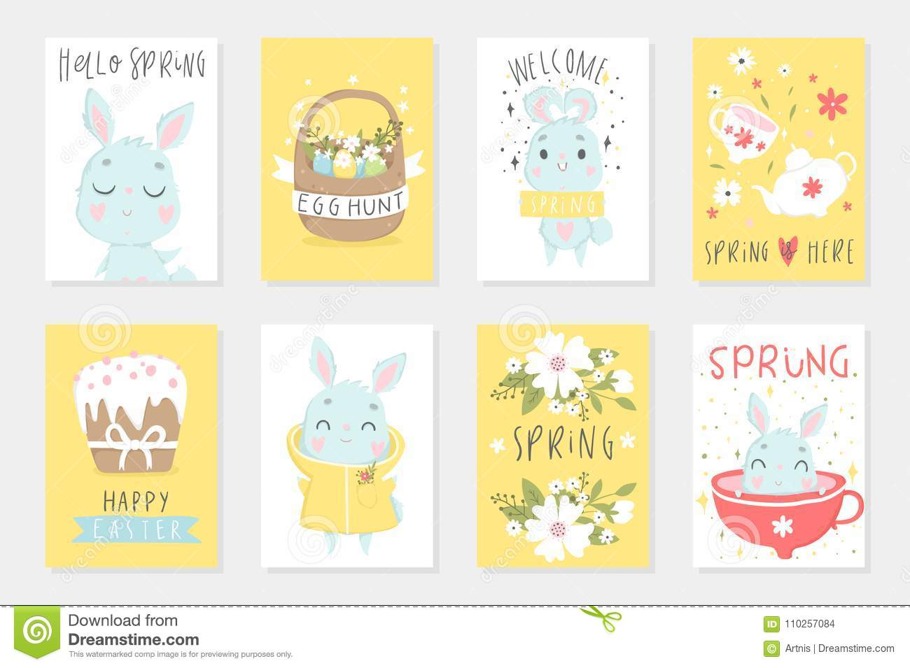Set of easter cards with cute cartoon characters and type design set of easter cards with cute cartoon characters and type design easter greetings with bunny cups eggs and flowers vector illustration m4hsunfo