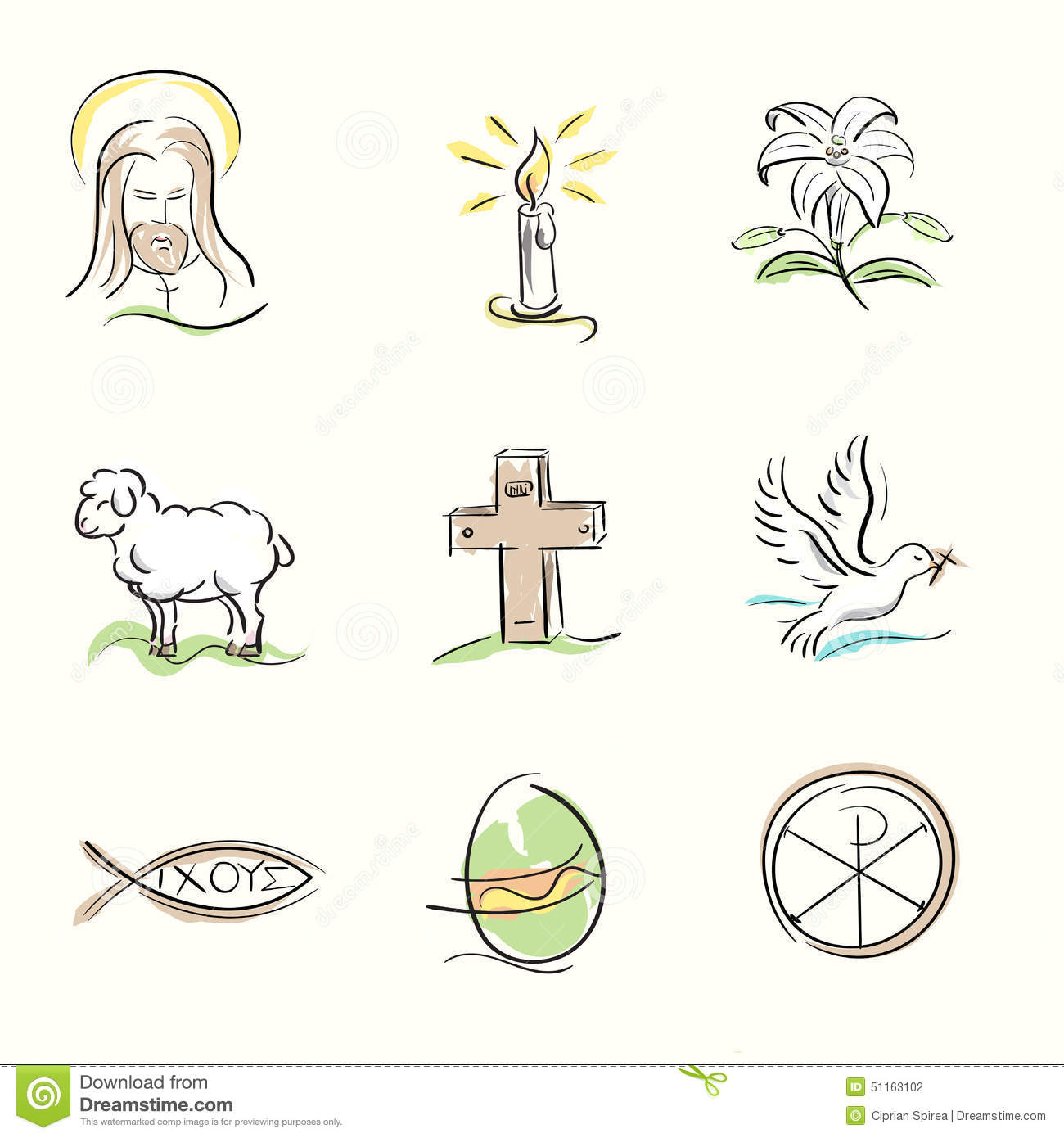Set Of Easter Christian Symbols And Spring Hand Drawn ...