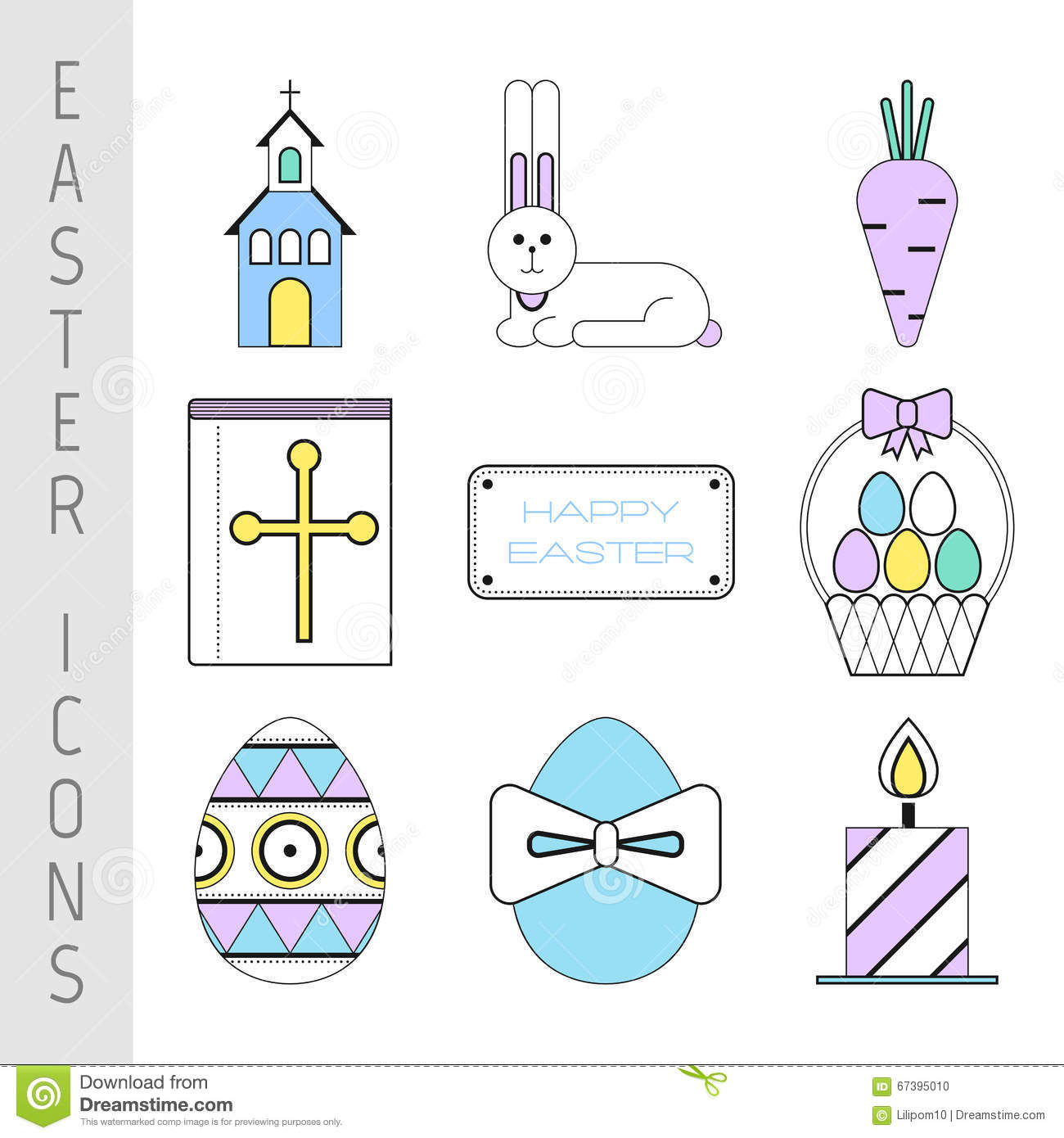 Set of easter color flat icons collection easter symbols and set of easter color flat icons collection easter symbols and pictures buycottarizona Images