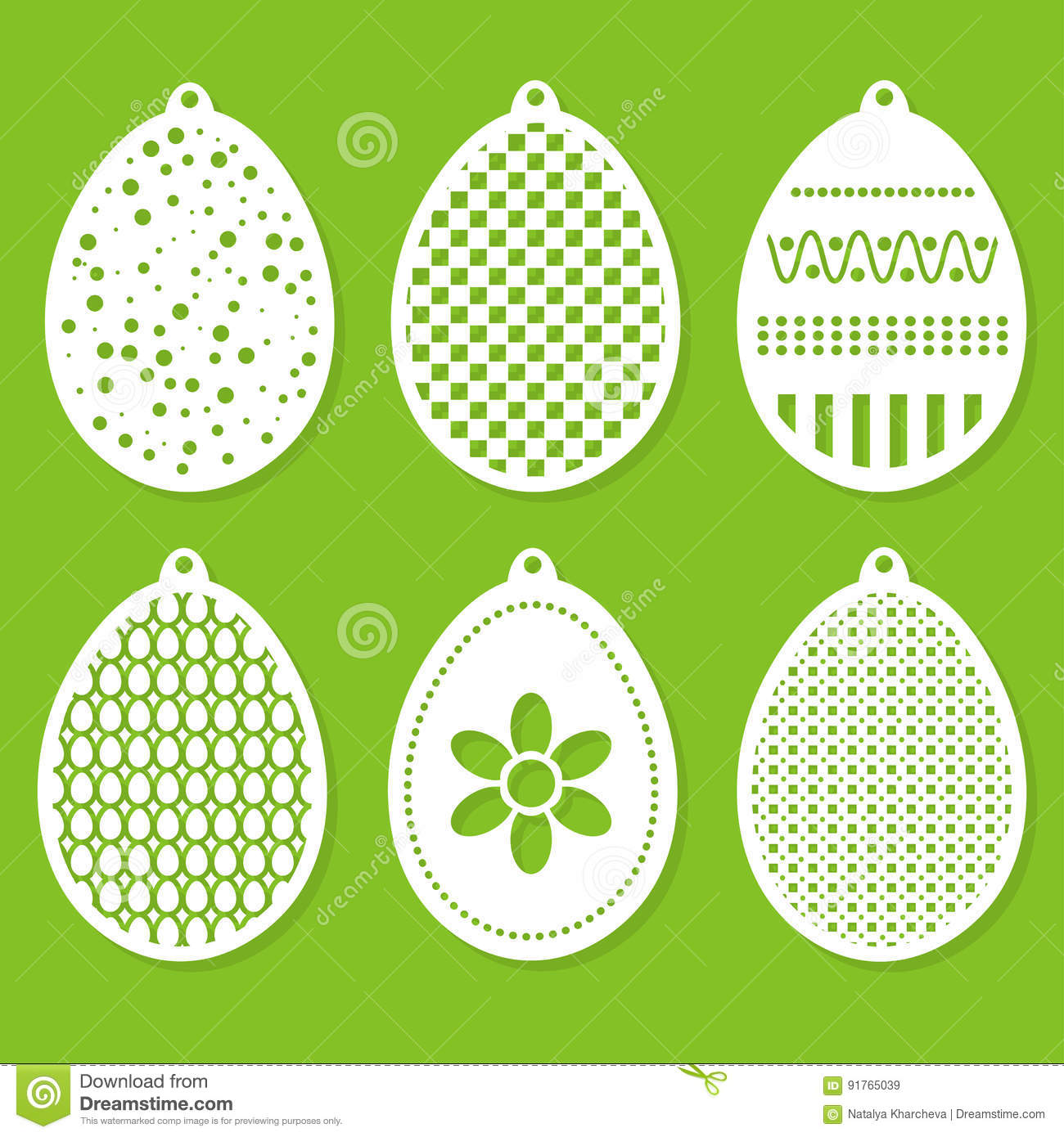 Set Of Easter Decorations Laser Cutting Stock Vector