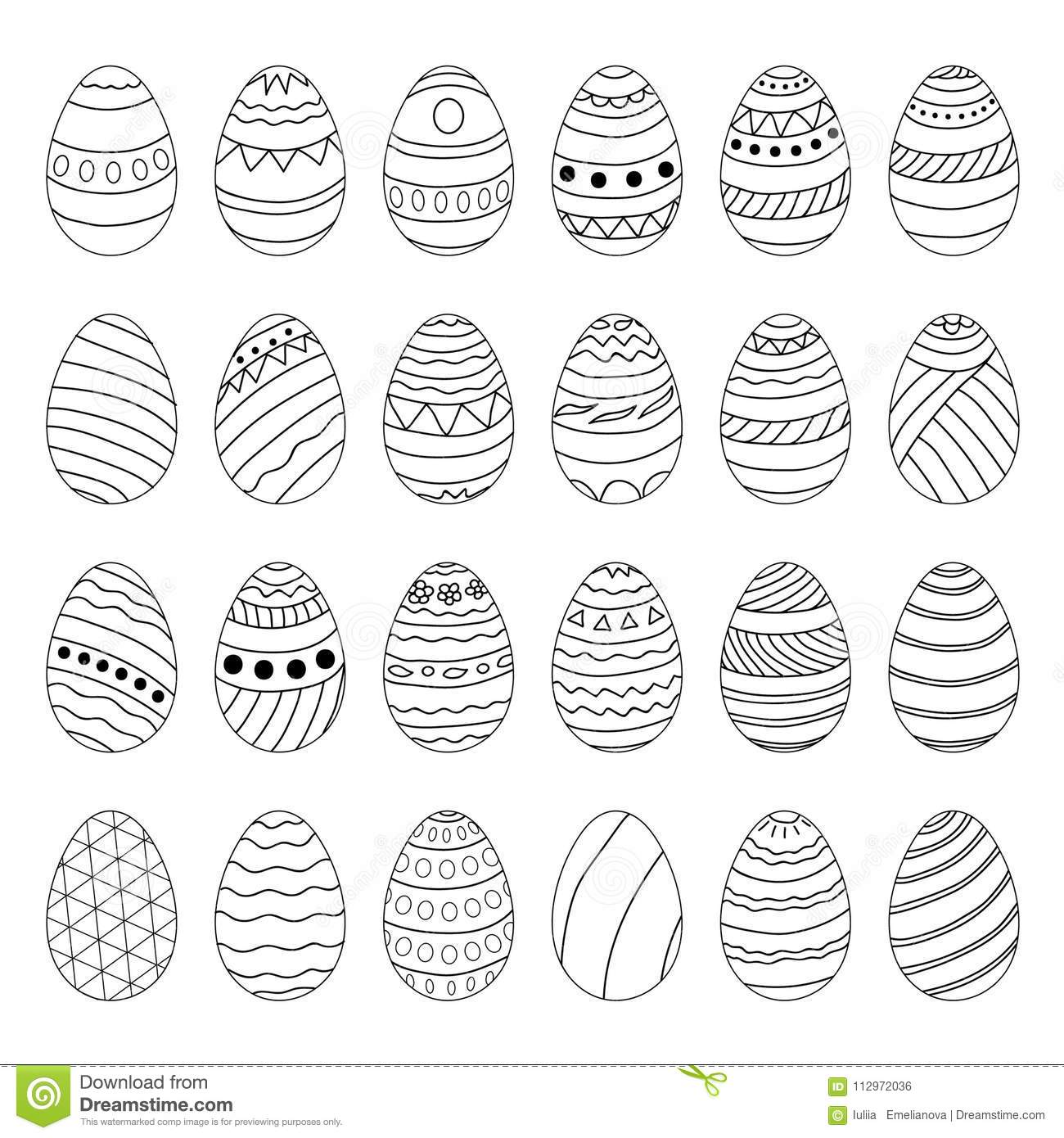 Set Of Easter Eggs. Hand Drawing. Stock Vector - Illustration of