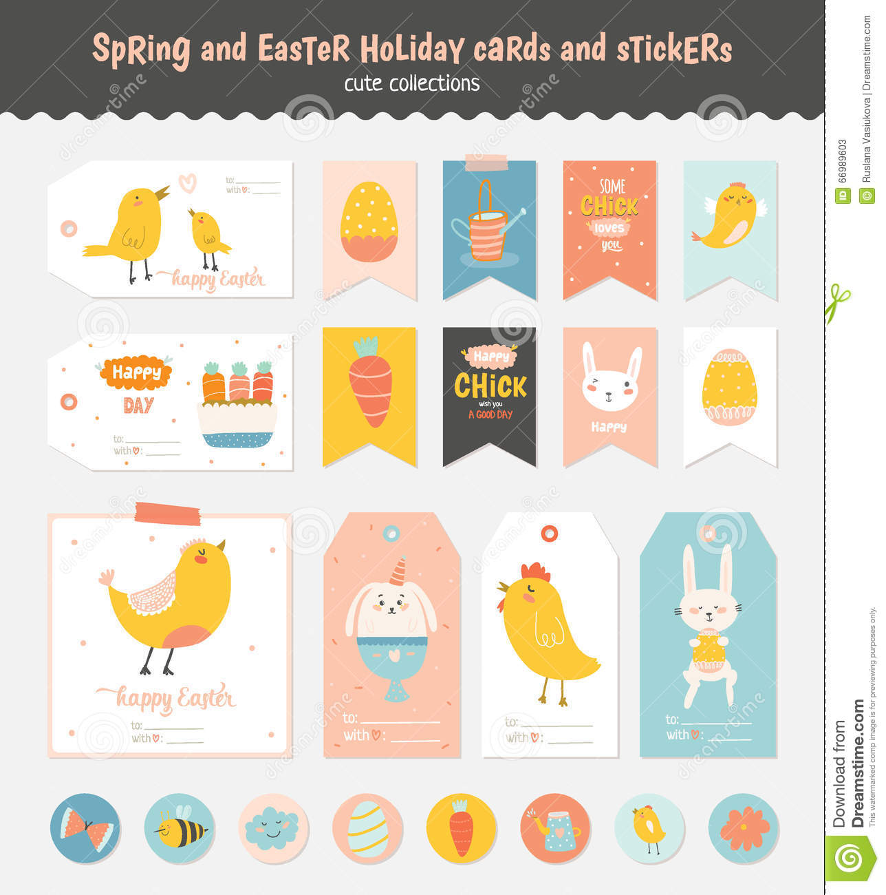 Set of easter greeting cards tags stickers stock vector image royalty free vector negle Image collections