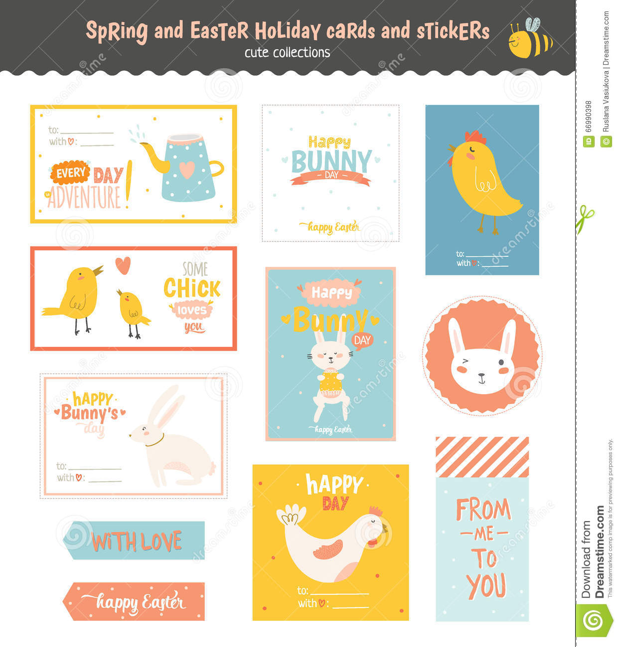 Set of easter greeting cards tags stickers stock vector set of easter greeting cards tags stickers bunny hare negle Images