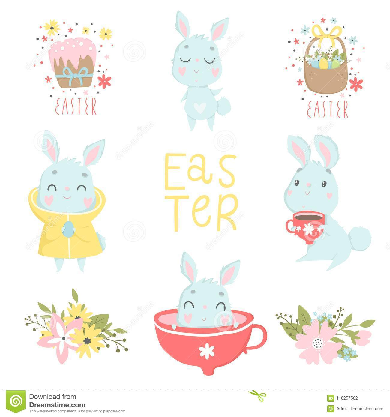 Set Of Easter And Spring Logo With Cute Illustrations And