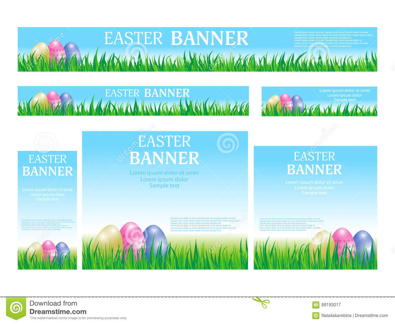 Set Easter Web Banners Templates Standard Size Template With Eg