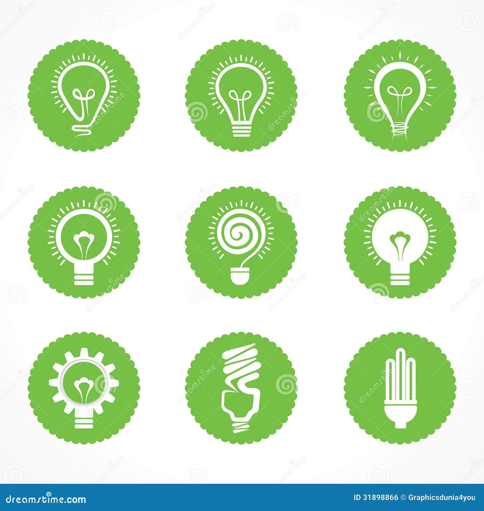 Set eco żarówki elektryczni symbole i ikony