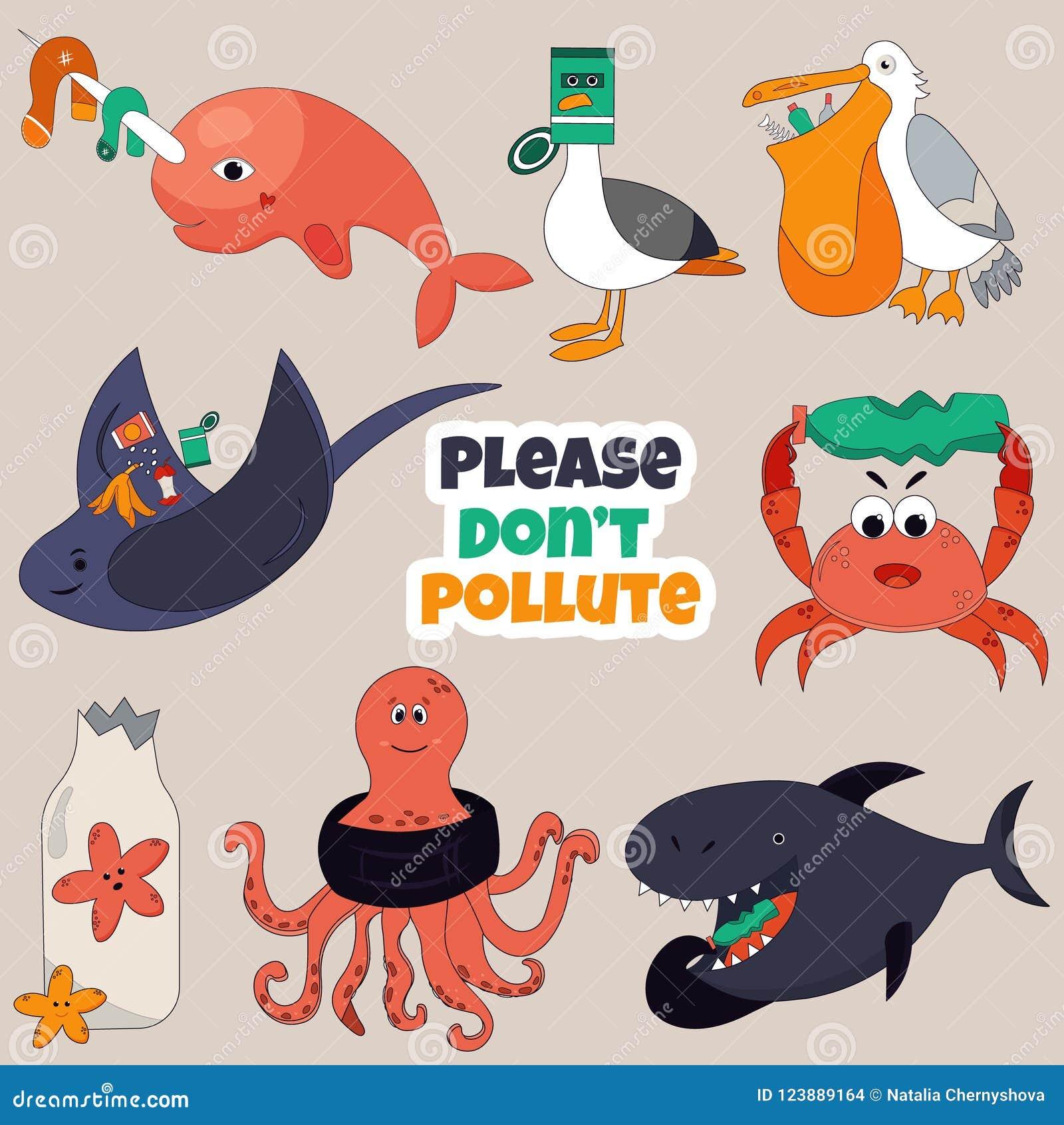 Set of Eco animals. Stop ocean pollution concept