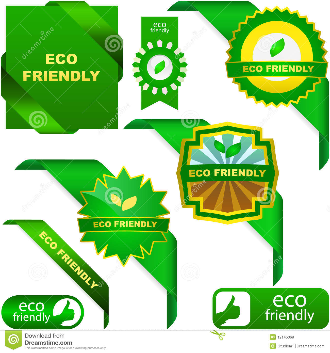Set Of Eco Friendly, Natural And Organic Labels. Royalty