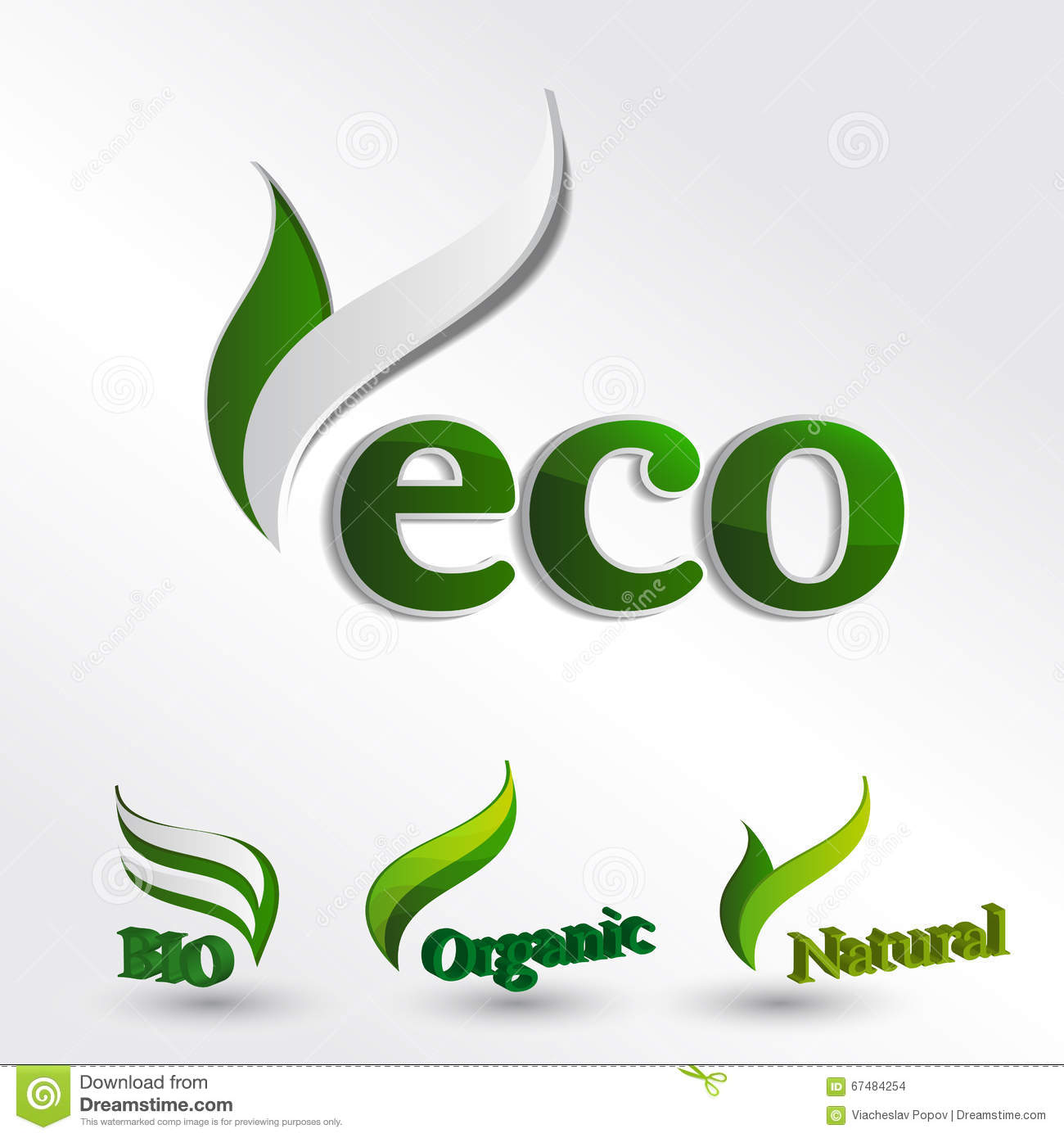 set of eco logos stock vector image 67484254. Black Bedroom Furniture Sets. Home Design Ideas