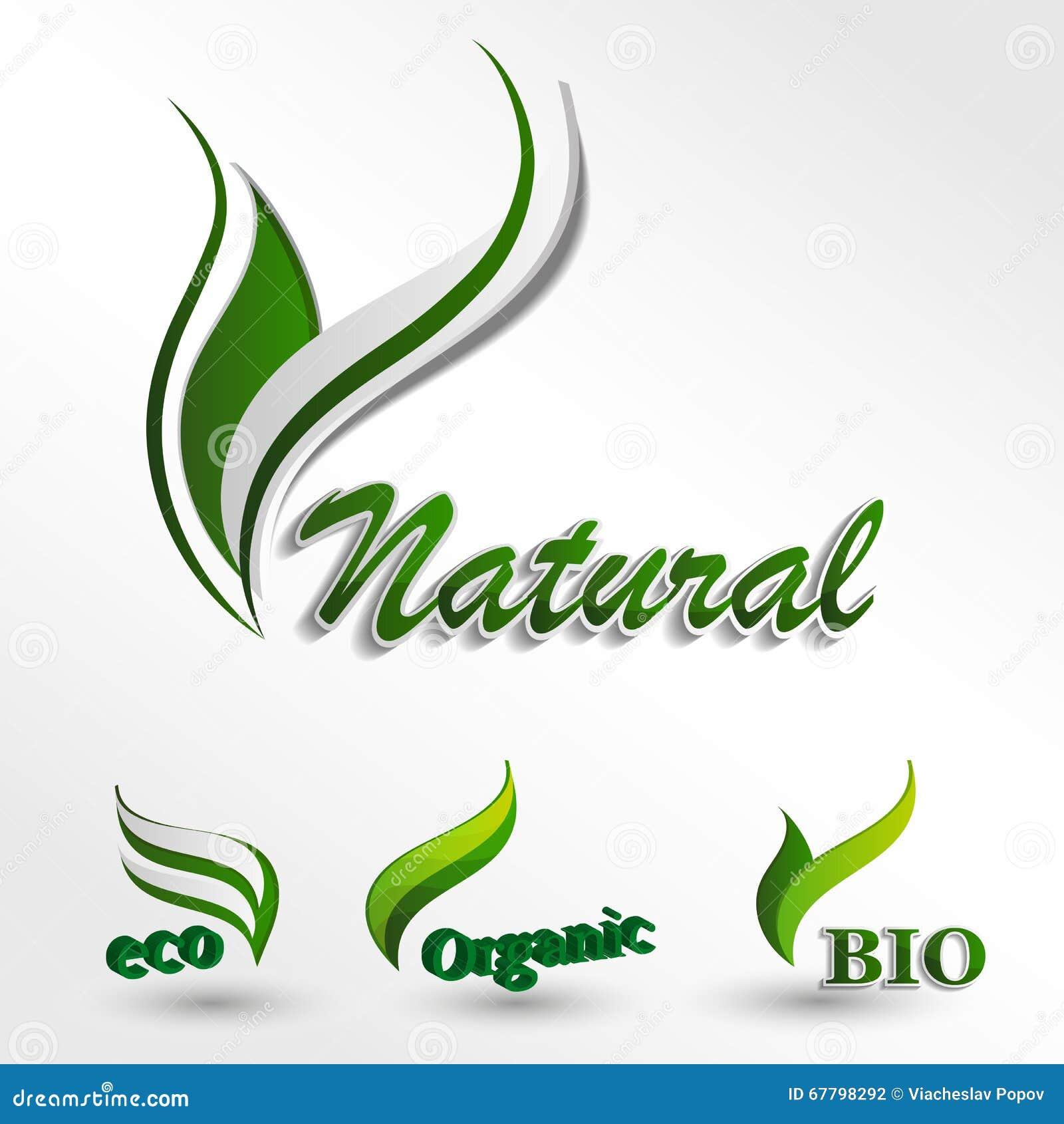 Set Eco Logos Natural Product Natural Icon Stock Vector