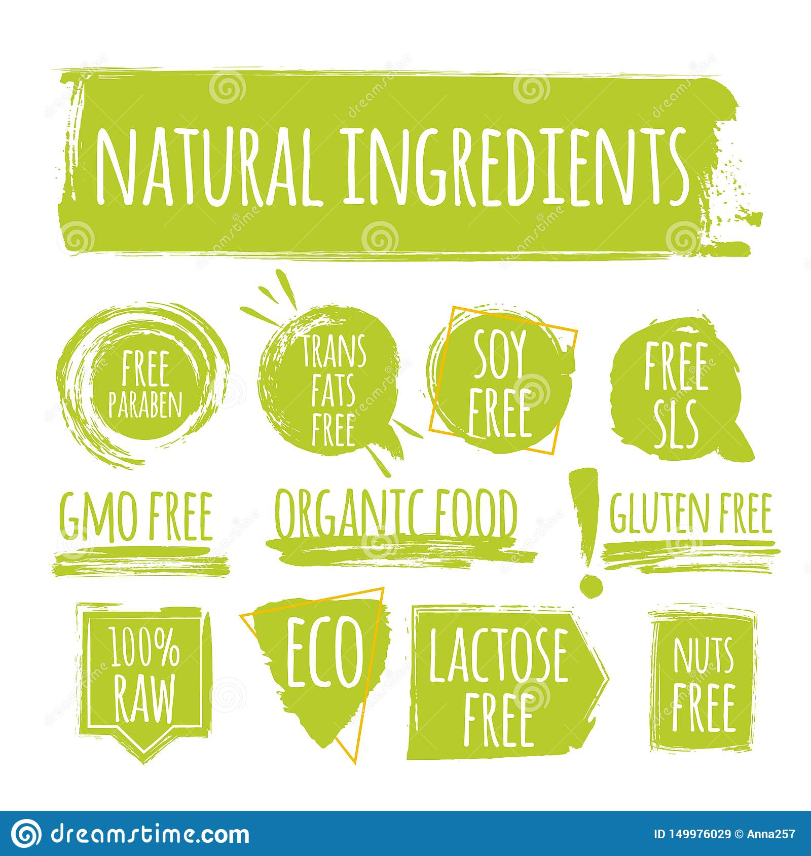 Set of eco natural ingredients label, round grunge logo, sticker for natural products packaging